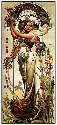 Art Nouveau Mucha, Alphonse Mucha Art, Art Nouveau Poster, Retro Poster, Vintage Posters, Vintage Art, Kunst Poster, Poster Art, Roederer Champagne
