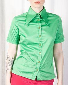 Green Short Sleeved Shirt With Oversized Collar