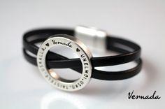 Vernada® Design -nahkaranneke, UNELMOI. USKO. TAISTELE. USKALLA., musta #Vernada #jewelry #koru #nahkaranneke #nahkakoru #rannekoru #bracelet #leather #suomestakäsin #finnishdesign #finnishfashion #käsityökortteli