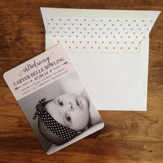 Introduce your new baby with stylish birth announcements paired with beautifully lined envelopes.