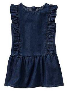 Ruffle chambray dress