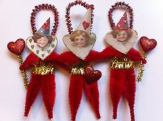 Valentine Day clown with red hearts set of 3 vintage style chenille ornaments