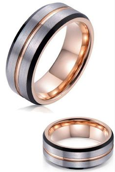 Mens 8mm Tungsten Carbide Wedding Ring With Brushed Top & Polished Carved Center Channel. I love the three tone colors, rose gold, silver, and black. This mens wedding ring has also been designed with beveled edges.