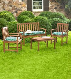Lancaster Eucalyptus Outdoor Seating, 4-Piece Set - Natural | PlowHearth