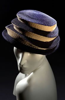 30b99338dfb Ladies blue and cream straw hat with striped effect Fashion Museum 1950s  Hats