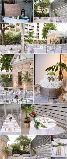 Modern and minimalist al fresco wedding at Colegio de Arquitectos, San Juan, Puerto Rico.