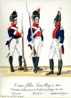 Baden Batallion of Grenadiers of the Guard 1808-10. L to R Grenadier, Sous Officer and Lieutenant Colonel