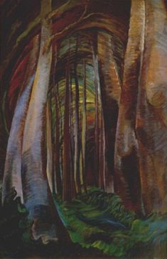 Emily Carr Wood Interior, oil on canvas Collection of the Vancouver Art Gallery, Emily Carr Trust Tom Thomson, Canadian Painters, Canadian Artists, Landscape Art, Landscape Paintings, Tree Paintings, Forest Landscape, Abstract Paintings, Watercolor Paintings