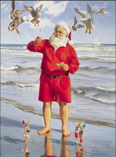 The day after Christmas... Santa relaxes on the beach while elves are happy he's feeding the gulls! (Tom Browning Christmas card) ~<>~ (coastal, nautical, beach theme, seashore, ocean, Xmas)