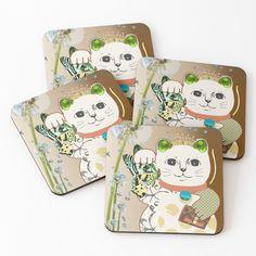 Cat Coasters, Maneki Neko, Fashion Room, Coaster Set, Top Artists, Vintage Designs, My Arts, Vibrant, Tapestry