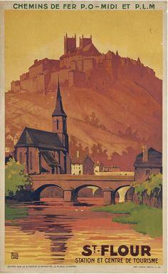 ✨ ALO (Charles-Jean Hallo 1884-1969) - St.-Flour. Station et centre de tourisme. Chemins de fer P.O-Midi et P.L.M., 1935. Imp. Chaix, Paris