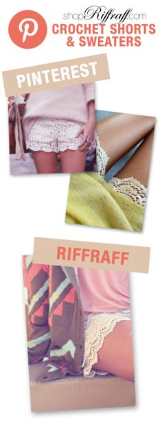 the shopriffraff.com take on crochet shorts with sweaters