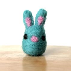 Needle Felted Teal Easter Bunny Rabbit Miniature Soft Handmade Art Figure by kmwatkins Karen Watkins on Etsy https://www.etsy.com/listing/223679261/needle-felted-teal-bunny-rabbit?ref=listings_manager_grid