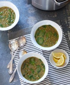 Ethiopian Style Spinach Lentil Soup. Great warm and cozy pressure cooker recipe.