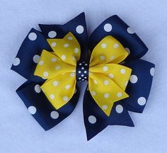 Basic Boutique Hair Bow, Large Boutique Hair Bow, Navy/Yellow Polka Dot Hair…