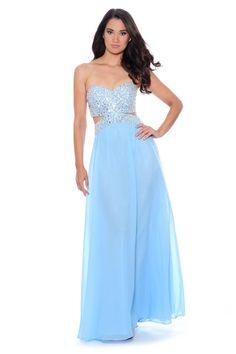 4707896c47 Diamond Cutout Full beaded Sweet heart dress - Ice Blue