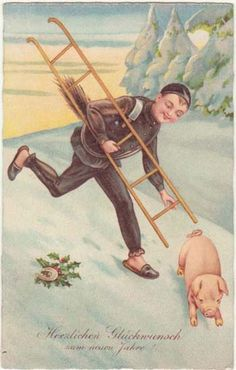 Happy New Year; Vintage Postcard Chimney Sweeper and Pig. from curioshop on Ruby Lane