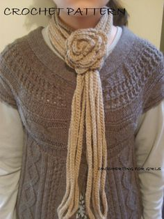 Multi strand crochet scarf with flower closure