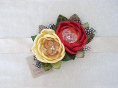 Red Yellow Flowers Dress Sash. Flower Sash. от RomanticARTlife, $54.95