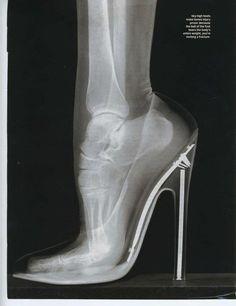 Foot in sexy high heel women shoes.