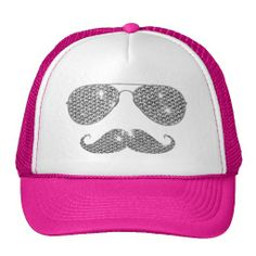 Camaroonie Tunes - Funny Diamond Mustache With Glasses Mesh Hat Funny Hats, Barbie, Markiplier, Mustache, Cowboy Hats, Pink Ladies, Baseball Hats, Fashion Accessories, Geek Stuff