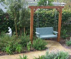The 2 Minute Gardener is a great source for garden ideas with over 600 photos and tips. Here is a cedar garden swing. The 2 Minute Gardener is a great source for garden ideas with over 600 photos and tips. Here is a cedar garden swing. Backyard Swings, Pergola Patio, Backyard Landscaping, Backyard Ideas, White Pergola, Small Pergola, Small Patio Ideas On A Budget, Wisteria Pergola, Garage Pergola