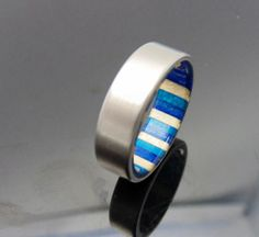 Titanium and wood ring  Bluewhite spectrum by 2ndstreetringcraft, $225.00