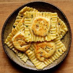 Vegan Sweet Potato, Coconut Milk, and Roasted Chilli Ravioli. #food