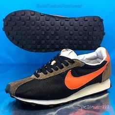 separation shoes 360a5 cbc74 NIke-LD1000-Mens-VTG-Trainers-Black-Orange-sz-8-Elite-Waffle -Sneakers-US-9-42-5