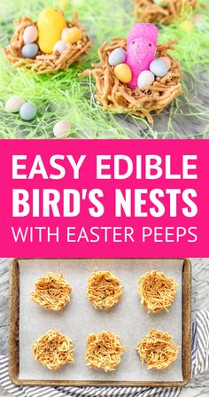 These edible bird's nests with Peeps chicks are a fun & tasty Easter DIY craft for kids! Just 4 ingredients + your favorite Easter candy to fill them… Easter Peeps, Easter Candy, Easter Treats, Easter Dinner, Easter Brunch, Edible Bird's Nest, Easy Easter Recipes, Food Stamps, Easter Crafts For Kids