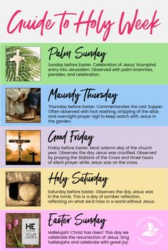 What are the events of Holy Week? Let this guide to Holy Week help you experience a meaningful Easter as a family or in your own quiet time. Grab activities for Palm Sunda, Maundy Thursday, Good Friday, Holy Saturday and Easter Sunday. Holy Week Activities, Easter Activities, Easter Games, What Is Holy Week, Holy Week For Kids, Holy Week Days, What Is Good Friday, Holy Week Prayer, Sunday Prayer