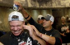 Chipper Jones is doused by teammate Martin Prado after beating the Miami Marlins 4-3!!