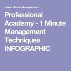 Professional Academy -   1 Minute Management Techniques INFOGRAPHIC