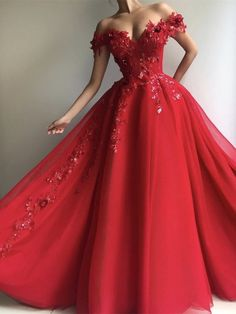 A Line Off Shoulder Tulle Red Long Prom Dresses with Appliques Sequins bfc62d82c870