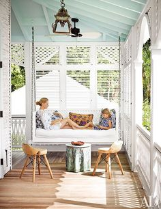Decorator Celerie Kemble and her daughter, Zinnia, on the porch of their Dominican Republic home— a beachfront retreat for her family with blue ceilings both inside and out. Terrace Roof, Balcony, Sleeping Porch, Blue Ceilings, Building A Porch, Building Homes, Building Plans, House With Porch, House Front