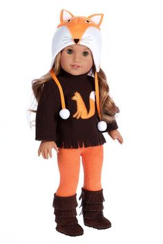 Foxy hat with brown fleece blouse, orange cotton leggings and brown fringed boots for American Girl doll. - Doll outfit contains a wide back closure for easy dressing and clothing removal. - Our doll clothes fits 18 inch American Girl dolls. - Designed in American Girl Outfits, Ropa American Girl, American Girl Crafts, American Doll Clothes, Ag Doll Clothes, Doll Clothes Patterns, American Dolls, Dress Patterns, Outfits With Hats