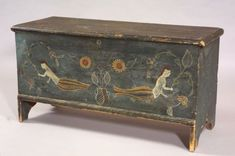 Paint Decorated Pine Six-Board Chest, probably Connecticut, c. 1790, the rectangular molded hinged top opens to an interior with till, on a box with applied molded skirt, and cutout sides, the chest painted blue, the front with central overlapping urns holding a symmetrical arrangement of sunflowers, flanked by mermaids holding flowering vines; early blue painted background with later polychrome decoration, (imperfections), ht. 23 3/4, wd. 43 1/2, dp. 17 1/2 in.