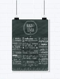 Pôster personalizado - Chalkboard Casal(A3)