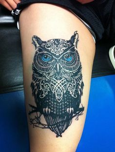 owl tattoo on thigh for girls