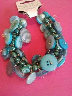 Blue ice button bracelet by CRAZYBUTTONDESIGNS13 on Etsy, $12.00