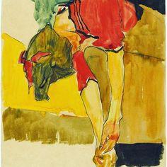 Egon Schiele's girl putting on shoe, 1910  #art #shoes #klimt #egonschiele #schiele #egonschieleswomen