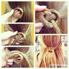 Celtic hair knot, I'm loving this half up half down hair style and will defiantly be trying it out tomorrow! Creative Hairstyles, Diy Hairstyles, Pretty Hairstyles, Hairstyle Ideas, Hair Ideas, Hairstyle Tutorials, Knot Braid, Hair Knot, Loop Knot