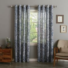 Paisley Watercolor Grommet Top 84-inch Curtain Panel Pair - Overstock™ Shopping - Great Deals on Curtains