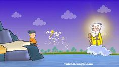 truyện cổ tích ba chiếc rìu_ ông lão ngoi lên mặt nước tay cằm một chiếc rìu vàng