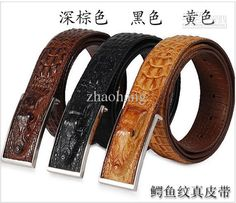 Men's Rattle Snake Skin Pattern Texture Leather Belt Metal Buckle ...