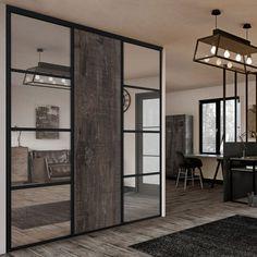 Laissez-vous séduire par cette façade de placard à trois portes. Son style unique apportera beaucoup de caractère à une décoration tendance industrielle par exemple. #Kazed #Placard #Portes #Industriel #Déco #Miroir