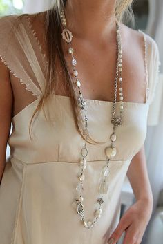 ❥ beaded and chained collage necklace by Diana Frey