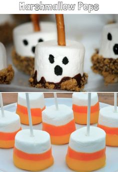 Marshmallow Halloween Pops, love to do the orange and white for games!