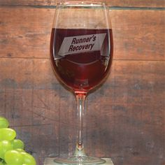 Our Runners Recovery Wine Glass is the perfect glass to relax with after a great run. This wine glass engraved with one of our exclusive and popular running designs makes a perfect gift for a runner.