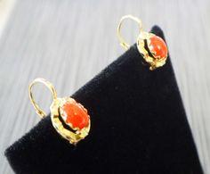 Vintage 18k Gold Earrings Coral Earrings 18k by BelmarJewelers